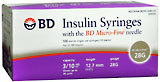 BD Insulin Syringe 3/10 cc 28 Gauge Needle  - 100ea