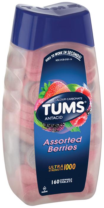 Tums Antacid/Calcium Supplement, Maximum Strength, Assorted Berries, Chewable Tablets, Value Size  - 160ea