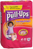 Pull-Ups Learning Designs Training Pants Girls 4T-5T 38-50 LBS - 4 Pack x 19 EA