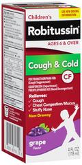 Robitussin CF Children's Cough & Cold Liquid Grape Flavor - 4 OZ