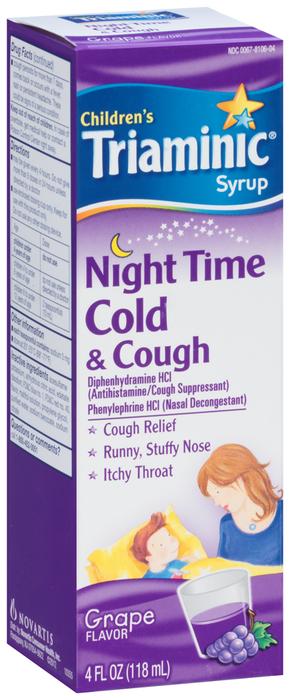 Triaminic Children's Syrup Night Time Cold & Cough Grape Flavor - 4 OZ