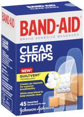 Band-Aid Adhesive Bandages, Clear/Transparent  - 45ea