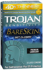 Trojan Sensitivity BareSkin Lubricated Latex Condoms - 10 EA
