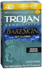 Trojan Sensitivity BareSkin Lubricated Latex Condoms - 10 EA