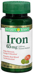 Nature's Bounty Iron 65 mg Tablets  -  100 Tablets