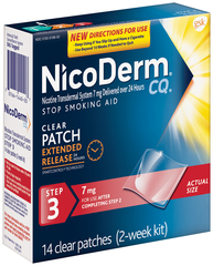 NicoDerm CQ Stop Smoking Aid, 7 mg, Patch, Step 3, 2 Week Kit  - 14ea