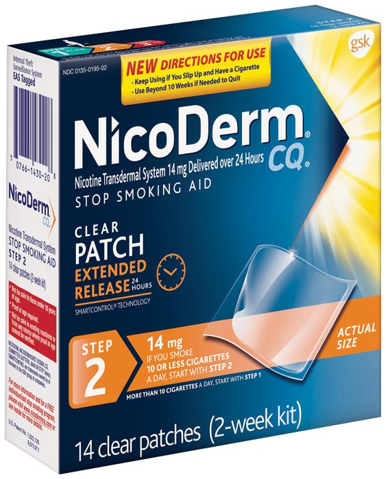 NicoDerm CQ Stop Smoking Aid, 14 mg, Patch, Step 2, 2 Week Kit  - 14ea
