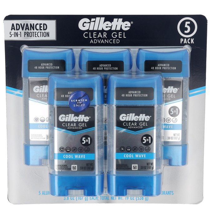 Gillette Cool Wave Clear Gel 5-Pack Value Size - Advanced Anti-Perspirant/Deodorant