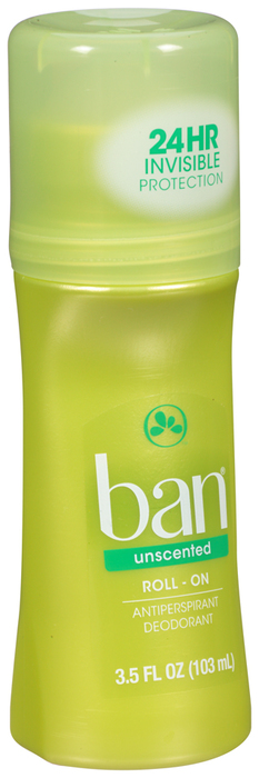 Ban Classic Anti-Perspirant Deodorant Original Roll-On Unscented - 3.5 Ounces