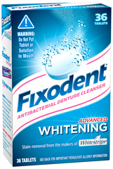 Fixodent Antibacterial Denture Cleanser, Advanced Whitening - 36 Tablets
