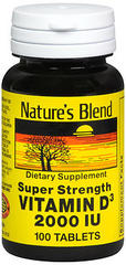Nature's Blend Vitamin D3, 2000 IU Tablets - 100 Tablets