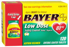 Bayer Low Dose Safety Coated Baby Aspirin 81mg - 120 Coated Tablets