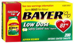 Bayer Low Dose Safety Coated Baby Aspirin 81 Milligrams - 200 Tablets