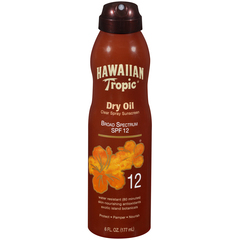 Hawaiian Tropic Tanning Dry Oil Clear Spray Sunscreen SPF 12 - 6 Ounces