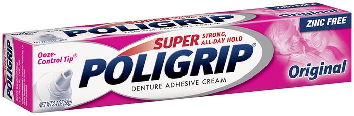 Super Poligrip Denture Adhesive Cream Zinc-Free Formula, Original - 2.4 Ounces
