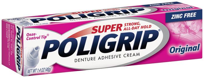 Super Poligrip Denture Adhesive Cream Zinc-Free Formula, Original - 1.4 Ounces