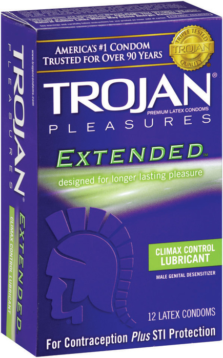 Trojan Extended Pleasure Latex Condoms with Climax Control Lubricant - 12 Each