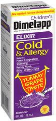 Chidren's Dimetapp Cold and Allergy Elixir, Grape Flavor - 4oz