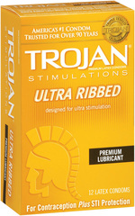 Trojan Stimulations Ultra-Ribbed Lubricated Premium Latex Condoms - 12 Each