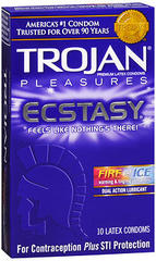Trojan Pleasures Fire and Ice Premium Latex Condoms - 10 Each