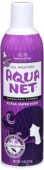 Aqua Net Hair Spray Aerosol  Extra Super Hold, Unscented - 11 Ounces