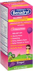 Benadryl-D Children's Allergy and Sinus Liquid Grape - 4 OZ