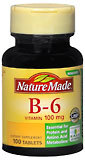 Nature Made Vitamin B-6 100 mg Tablets - 100 Tablets