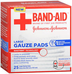 Johnson & Johnson, Band Aid Sterile Gauze Pads 4x4, 25 Large Pads