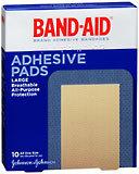 Band-Aid Adhesive Bandages, Large Adhesive Pads  - 10ea