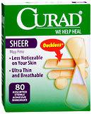 Curad Adhesive Bandages, Sheer, Assorted Sizes  - 80ea