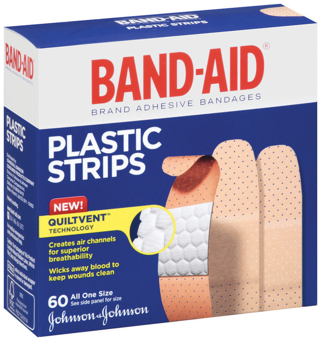 Band-Aid Adhesive Bandages, Plastic, All One Size  - 60ea