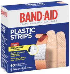 Band-Aid Adhesive Bandages, Plastic, All One Size  - 60ea