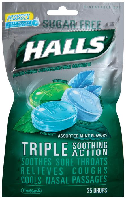 Halls Mentho-Lyptus Drops Sugar Free Assorted Mint - 25 EA