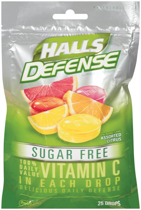 Halls Defense Vitamin C Drops Sugar Free Assorted Citrus - 25 EA