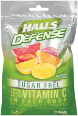Halls Defense Vitamin C Drops Sugar Free Assorted Citrus - 25 EA