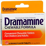 Dramamine Motion Sickness Relief for Children and Adults, 50 mg, Orange, Chewable Tablets  - 8ea