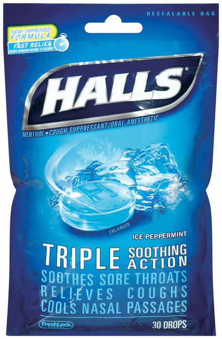 Halls Cough Suppressant Triple Soothing Action - Ice Peppermint - 30 Drops