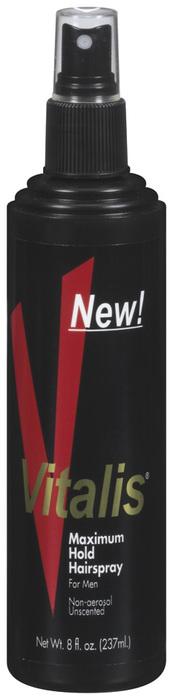 Vitalis Hairspray For Men Non-Aerosol Unscented Maximum Hold  -  8 OZ