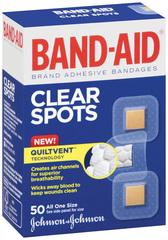 Band-Aid Adhesive Bandages, Clear Spots  - 50ea
