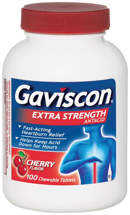 Gaviscon Antacid, Extra Strength, Cherry, Chewable Tablets  - 100ea