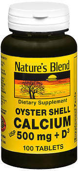Nature's Blend Oyster Shell Calcium 500 mg Tablets + D - 100 TB