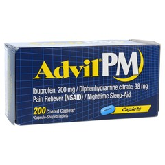 Advil PM - Ibuprofen, 200 mg / Diphenhydramine citrate, 38 mg. Pain Reliever (NSAID) / Nighttime Sleep-Aid - 200 Coated Caplets