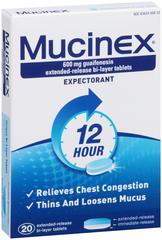Mucinex Expectorant, 600 mg, Bi-Layer Tablets  - 20ea