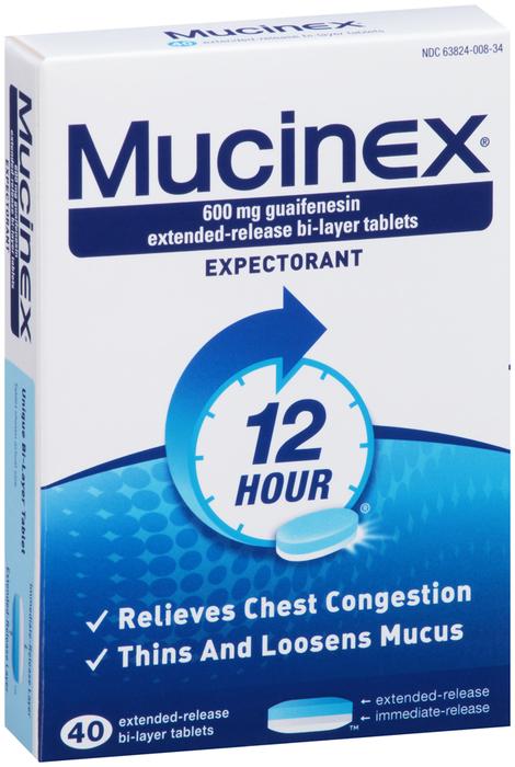 Mucinex Expectorant, 600 mg, Bi-Layer Tablets  - 40ea