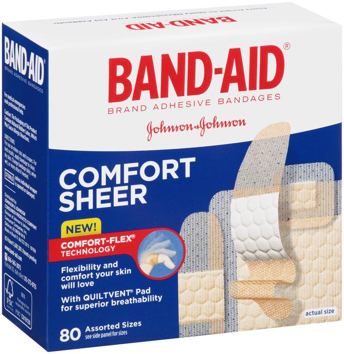 Band-Aid Adhesive Bandages, Assorted, Sheer  - 80ea