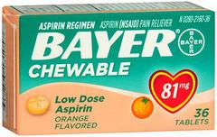 Bayer Genuine Aspirin, 81 mg, Orange, Chewable Tablets  - 36ea