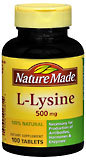 Nature Made L-Lysine 500 mg Tablets - 100 Tablets