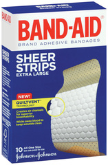 Band-Aid Adhesive Bandages, Sheer, Extra Large, One Size  - 10ea