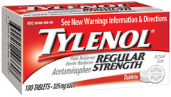Tylenol Acetaminophen, Regular Strength, 325 mg, Tablets  - 100ea