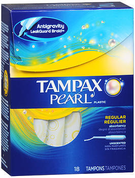 Tampax Pearl Plastic Tampons Regular Absorbency Unscented - 18 EA